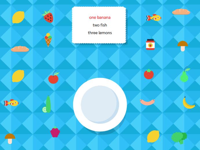 English breakfast - aplikacja interaktywna z lektorem, sterowana ruchem na podłodze interaktywnej.