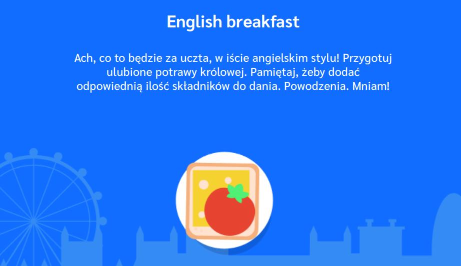 Polecenie w aplikacji English breakfast z pakietu Red Bus
