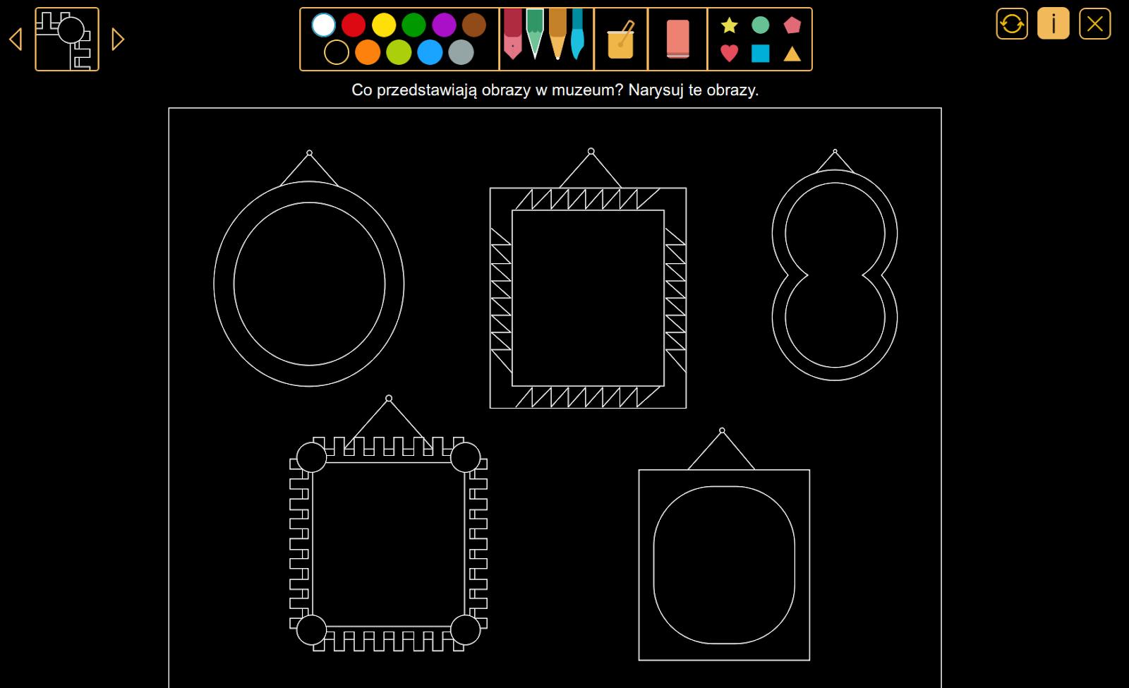 Wyobraź sobie - Co przedstawiają obrazy w muzeum? z pakietu W krainie kolorów.