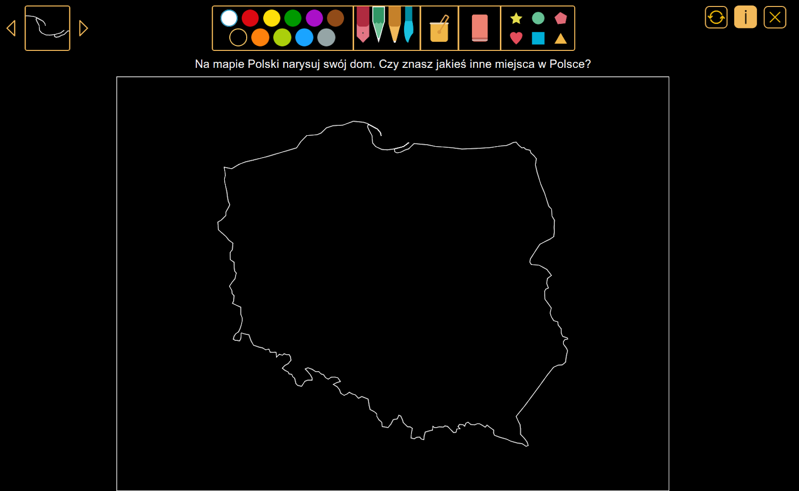 Wyobraź sobie - Na mapie Polski narysuj swój dom, z pakietu W krainie kolorów.
