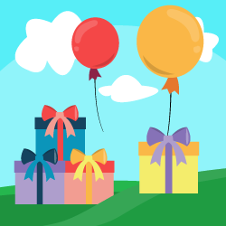 Baloons with gifts logo